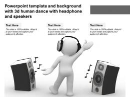 Template And Background With 3d Human Dance With Headphone And Speakers Ppt Powerpoint