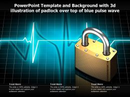Template And Background With 3d Illustration Of Padlock Over Top Of Blue Pulse Wave