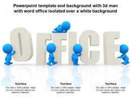 Template And Background With 3d Man With Word Office Isolated Over A White Background