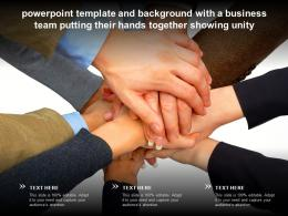 Template And Background With A Business Team Putting Their Hands Together Showing Unity