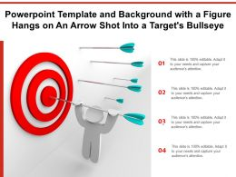 Template And Background With A Figure Hangs On An Arrow Shot Into A Targets Bullseye