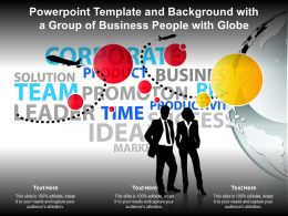 Template And Background With A Group Of Business People With Globe Ppt Powerpoint