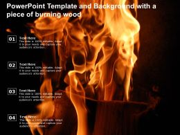 Template And Background With A Piece Of Burning Wood Powerpoint