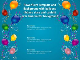 Template And Background With Balloons Ribbons Stars And Confetti Over Blue Vector