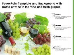 Template And Background With Bottle Of Wine In The Vine And Fresh Grapes Powerpoint
