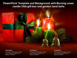Template And Background With Burning Xmas Candle Little Gift Box And Golden Hand Bells