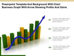 Template And Background With Chart Business Graph With Arrow Showing Profits And Gains