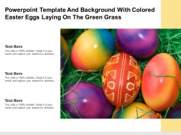Template And Background With Colored Easter Eggs Laying On The Green Grass