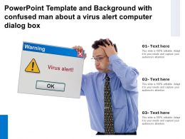 Template And Background With Confused Man About A Virus Alert Computer Dialog Box