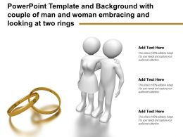 Template And Background With Couple Of Man And Woman Embracing And Looking At Two Rings