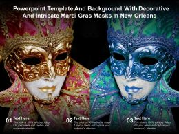 Template And Background With Decorative And Intricate Mardi Gras Masks In New Orleans