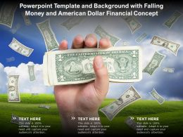 Template And Background With Falling Money And American Dollar Financial Concept