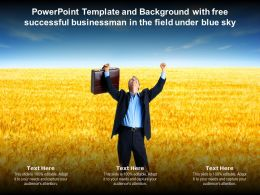 Template And Background With Free Successful Businessman In The Field Under Blue Sky