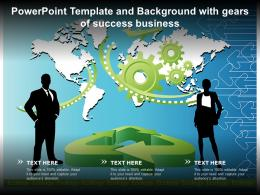 Template And Background With Gears Of Success Business Ppt Powerpoint