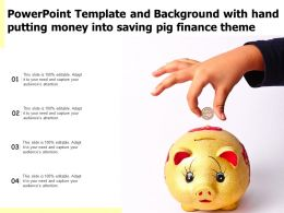 Template And Background With Hand Putting Money Into Saving Pig Finance Theme