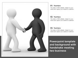 Template And Background With Handshake Meeting Two Business Ppt Powerpoint