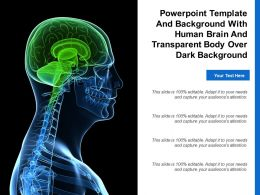 Template And Background With Human Brain And Transparent Body Over Dark Background