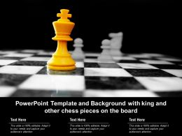 Template And Background With King And Other Chess Pieces On The Board Ppt Powerpoint