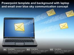 Template And Background With Laptop And Email Over Blue Sky Communication Concept
