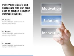 Template And Background With Man Hand Push On Solution Innovation Motivation Buttons