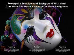 Template And Background With Mardi Gras Mask And Beads Close Up On Black Ppt Powerpoint