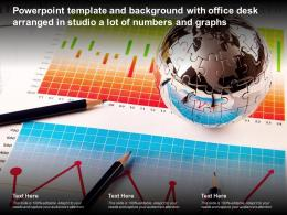 Template And Background With Office Desk Arranged In Studio A Lot Of Numbers And Graphs