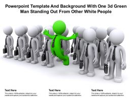 Template And Background With One 3d Green Man Standing Out From Other White People