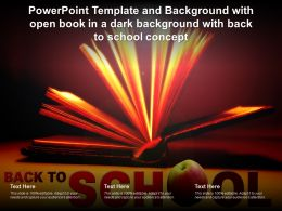 Template And Background With Open Book In A Dark Background With Back To School Concept