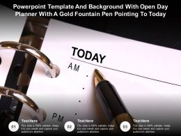 Template And Background With Open Day Planner With A Gold Fountain Pen Pointing To Today