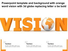 Template And Background With Orange Word Vision With 3d Globe Replacing Letter O Be Bold