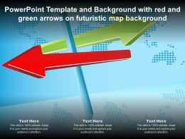 Template And Background With Red And Green Arrows On Futuristic Map Background