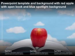 Template And Background With Red Apple With Open Book And Blue Spotlight Background