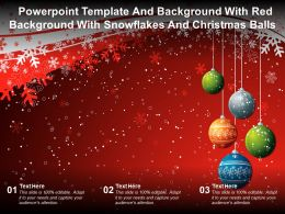 Template And Background With Red Background With Snowflakes And Christmas Balls