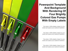 Template And Background With Rendering Of Four Brightly Colored Gas Pumps With Empty Labels