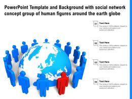 Template And Background With Social Network Concept Group Of Human Figures Around The Earth Globe