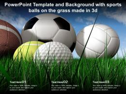 Template And Background With Sports Balls On The Grass Made In 3d Ppt Powerpoint