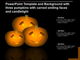 Template And Background With Three Pumpkins With Carved Smiling Faces And Candlelight