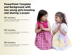 Template And Background With Two Young Girls Kneeling And Sharing A Prayer