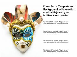 Template And Background With Venetian Mask With Jewelry And Brilliants And Pearls