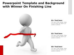 Template And Background With Winner On Finishing Line Ppt Powerpoint