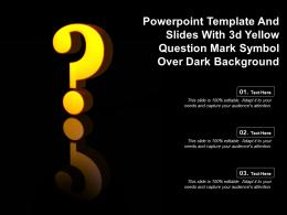 Template And Slides With 3d Yellow Question Mark Symbol Over Dark Background
