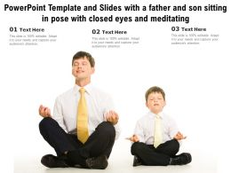 Template And Slides With A Father And Son Sitting In Pose With Closed Eyes And Meditating