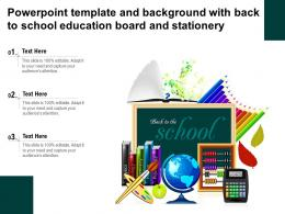 Template And With Back To School Education Board And Stationery Ppt Powerpoint