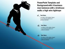Template Background With A Business Man Balances With A Briefcase Walks A High Wire Tightrope