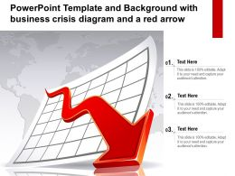 Template Background With Business Crisis Diagram And A Red Arrow Ppt Powerpoint