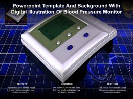 Template Background With Digital Illustration Of Blood Pressure Monitor Ppt Powerpoint