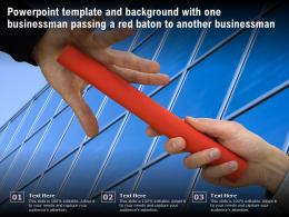 Template Background With One Businessman Passing A Red Baton To Another Businessman