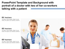 Template Background With Portrait Of A Doctor With Two Of Her Co Workers Talking With A Patient