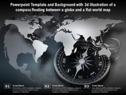 Template With 3d Illustration Of A Compass Floating Between A Globe And A Flat World Map