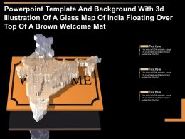 Template With 3d Illustration Of A Glass Map Of India Floating Over Top Of A Brown Welcome Mat